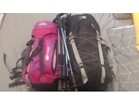 Hillwalking gear two packs and poles