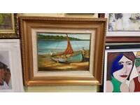 Irish painting Going Fishing. Signed