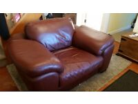 Large leather armchair, chestnut brown. Good condition