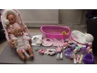 Baby Annabel Dolls x 2, Carrycot, Highchair, Bath, Clothes and Accessories