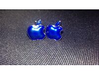 Apple Cuff Links. Brand new, unwanted gift, blue and Chrome.