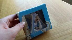 BNIB Beatrix Potter Peter Rabbit Ceramic Letter 'A' in blue