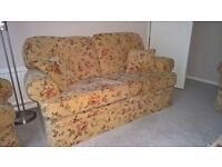 M&S Charlotte Sofa 3 Piece Suite with Footstool and Cushions - Floral Golden Brown Chenille