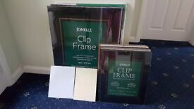 Clip Frames: 5 of 600 x 800 mm, 11 of 40 x 50 mm plus 2 others. BARGAIN £10 the lot