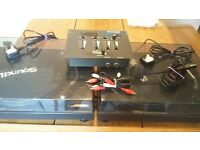 2 x Sound lab belt drive turntables with mixer