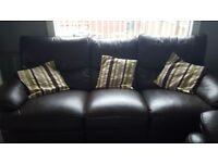 Dark Brown Leather 3 piece Recliner Suite