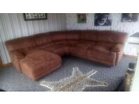 Lovely suade corner sofa with chaise lounge