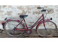 Vintage Old French Peugeot Purple Ladies Porteur Mixte Town Bike Bicycle Cycle Retro