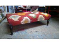 kilim ottoman coffee table footstool handmade kilim upholstered in kilim by master upholsterer