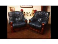 Blue Proper Leather 2 Chairs For Sale! Chesterfield Italian