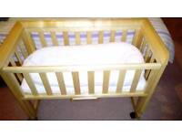 Traditional style co sleeper cot and mattress
