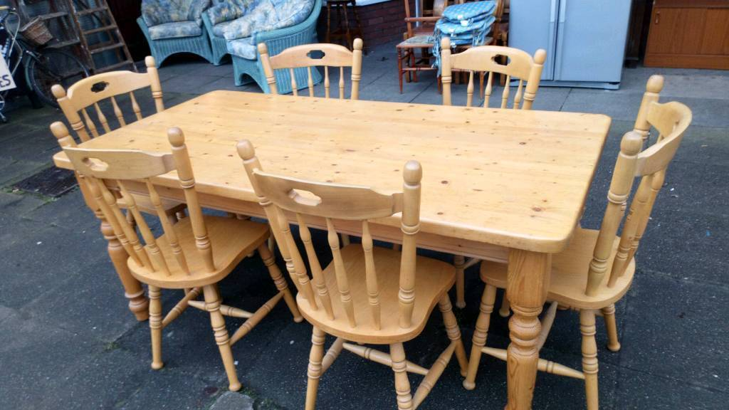 Sale Manchester   Solid Pine Table And Six Chairs