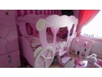 princess carriage single bed, wardrobe and box storage shelves