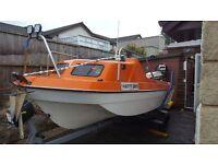 15ft Fast fisher boat 60hp Johnson Electric tilt trim & Start Full package swap - vhf gps fishfinder