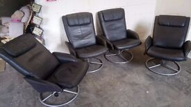 Four Black leather swivel reclining arm chairs £40 each or £140 set CHEAP DELIVERY Stalybridge SK15