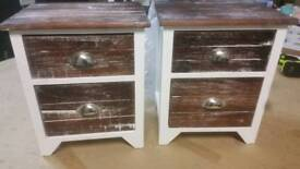A brand new pair of stylish brown x white 2 drawer bedside tables.