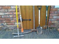 GARDEN TOOLS-PICK, FORK, RAKE, SPADE, & SLEDGE HAMMER,..BARGAIN..SEE OTHER ADS AS LOTS MORE ITEMS