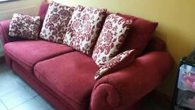 2 seater red and gold sofa