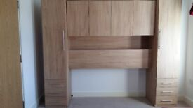 Oak effect overbed unit - wardrobe and shelf/cupboard space