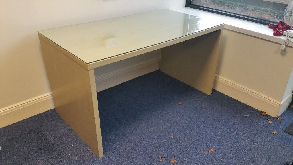 Office Desk With Glass Top 55 Long X 30 Deep