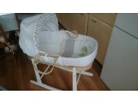 Lovely, clean, Clair De Lune moses basket crib and stand. In excellent condition. Hardly used.