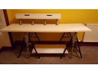 large desk, work bench stand style legs, 2m wide, 83cm high,75cm deep to wall+free stool