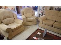 Lovely LIGHT BROWN three piece suite (2 + 1 + 1) £150... FREE DELIVERY 5 miles STALYBRIDGE SK15 2PT
