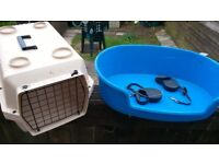 dog bed 2 retractable dog leads and small pet carrier see photo