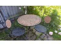 Metal table chair set with tiles