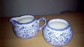 RETRO, SAXONY PATTERN SUGAR AND MILK POTTERY