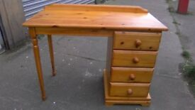 Solid pine four drawer dressing table/desk