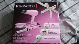 Remington complete hair gift pack NEW, straightener, curling tong and dryer