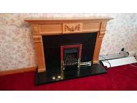 Full micromarble gas fire with solid pine surround.