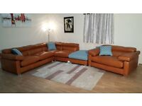 Unique Alexander&James tan leather 4 piece large corner sofa and snuggler chair