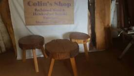 Handmade Round reclaimed wood stalls with wooden legs