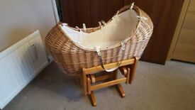 Mothercare 'The Snug' Crib/Moses Basket with Gliding Stand