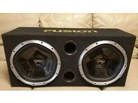 CAR DOUBLE SUBWOOFER SONY XPLOD 2000 WATT 2 x 12 INCH SPEAKERS WITH ENCLOSURE BASS BOX SUB WOOFER