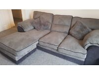 REDUCED Grey/charcoal, jumbo cord corner Sofa,
