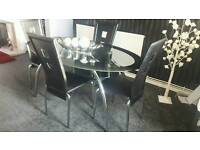 Black & Silver Dining Table & Chairs