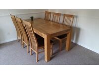 SCHREIBER WOBURN SOLID OAK 180CM DINING TABLE + 6 CHAIRS **MINT CONDITION**