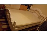 Vintage white solid double bed frame - NO MATTRESS