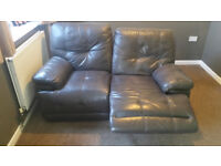 2 seater real leather reclining sofa