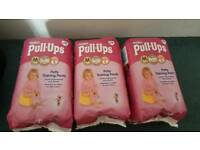 3 X Huggies pull up nappies (M)