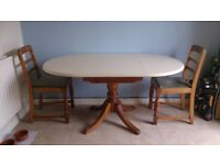 Solid Oak Extendable Oval Dining Table & 4 chairs, seats 2 -4, £120.00,