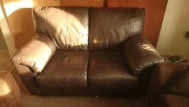 Brown leather 2 seat sofa