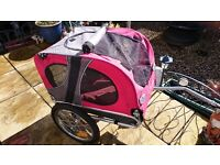 Bike dog trailer, red in colour, great little trailer for the dog