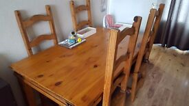 Table and 4 chairs real wood