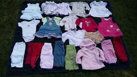 Baby girl 3-6 mths bundle vest top dress trousers jeans tights leggings jumper shorts 20 items