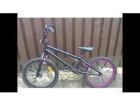 Girls BMX bike Black with Purple/ Pink trim detail