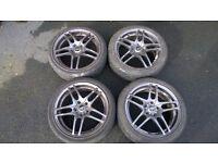 "Genuine JDM Weds alloy wheels, Leonis, 17x7"" with good 205/45 tyres, 5x114.3 honda nissan toyota etc"